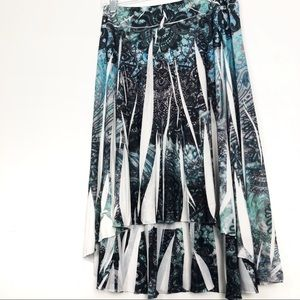 Cato Blue Paisley Print High Low Stretch Skirt